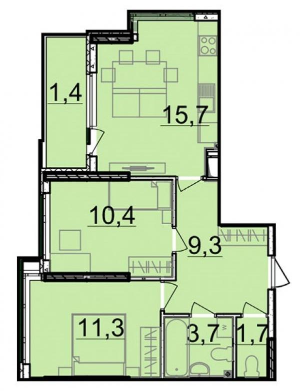 Планировки двухкомнатных квартир 53.5 м^2